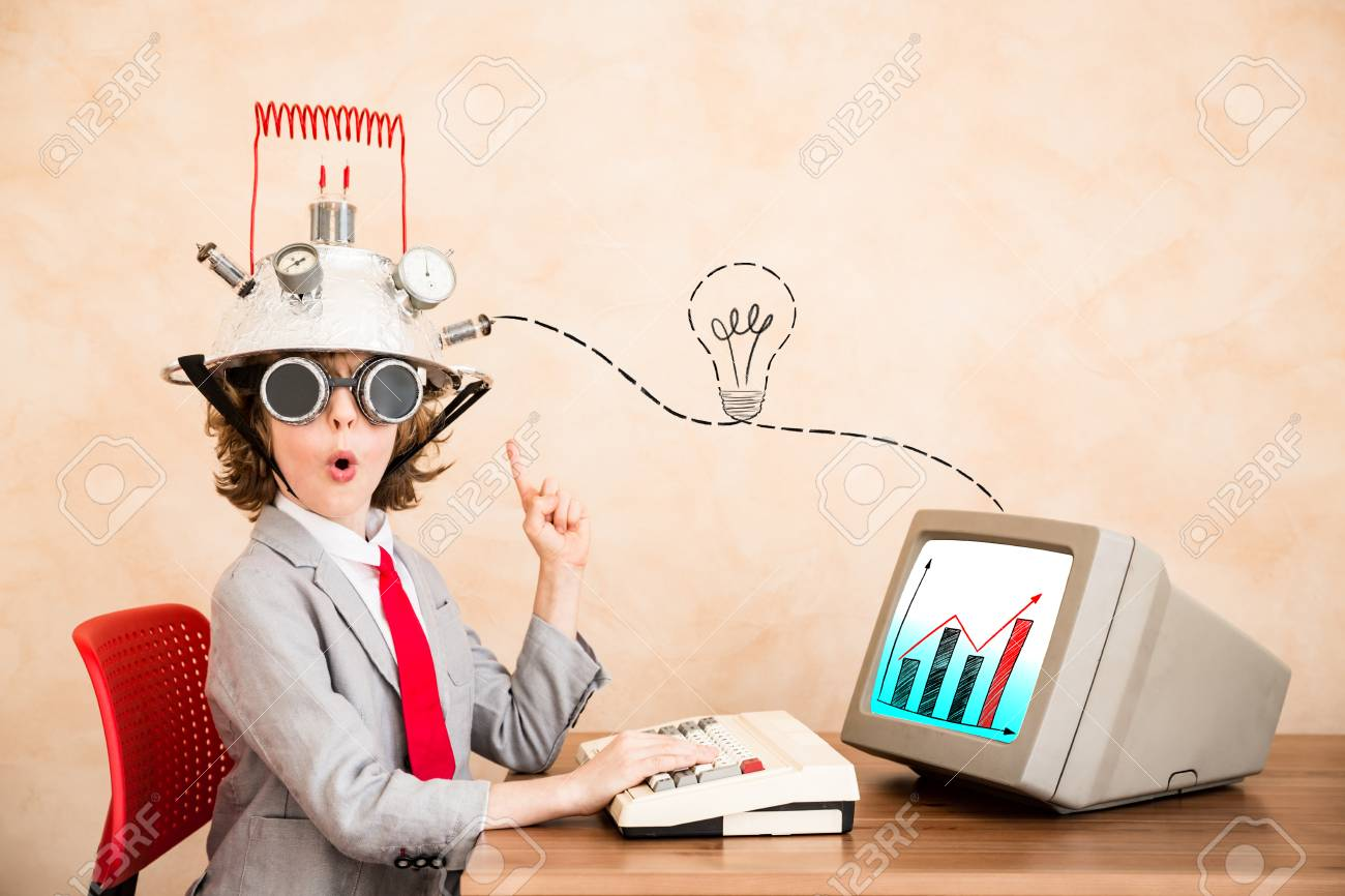 Child pretend to be businessman. Kid playing at home. Imagination, idea and start up concept. Back to school - 86957382