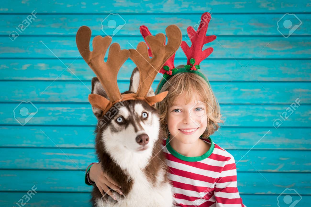 Happy child and dog on Christmas eve. Kid and pet dressed in Santa hat. - 87820904