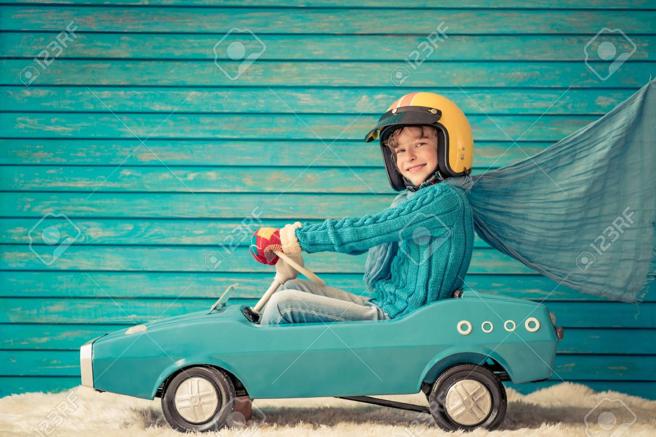 Happy child playing at home. Funny kid on Christmas eve. Xmas winter holiday concept - 89182905