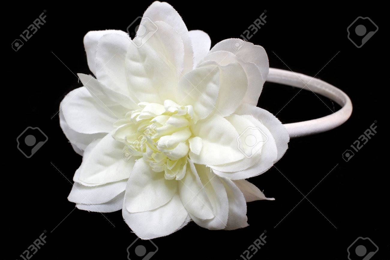 Hair band handmade with a big white flower on black background Stock Photo  - 12173372 df5d38a670c