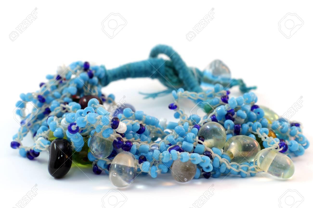 handmade bracelet of glass beads from India on white background Stock Photo - 12724888