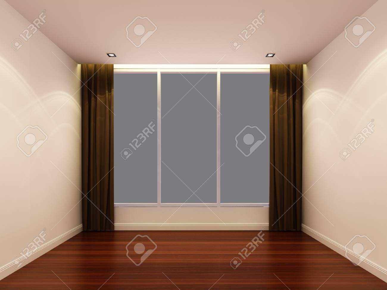 Empty white room at night Stock Photo - 23397745