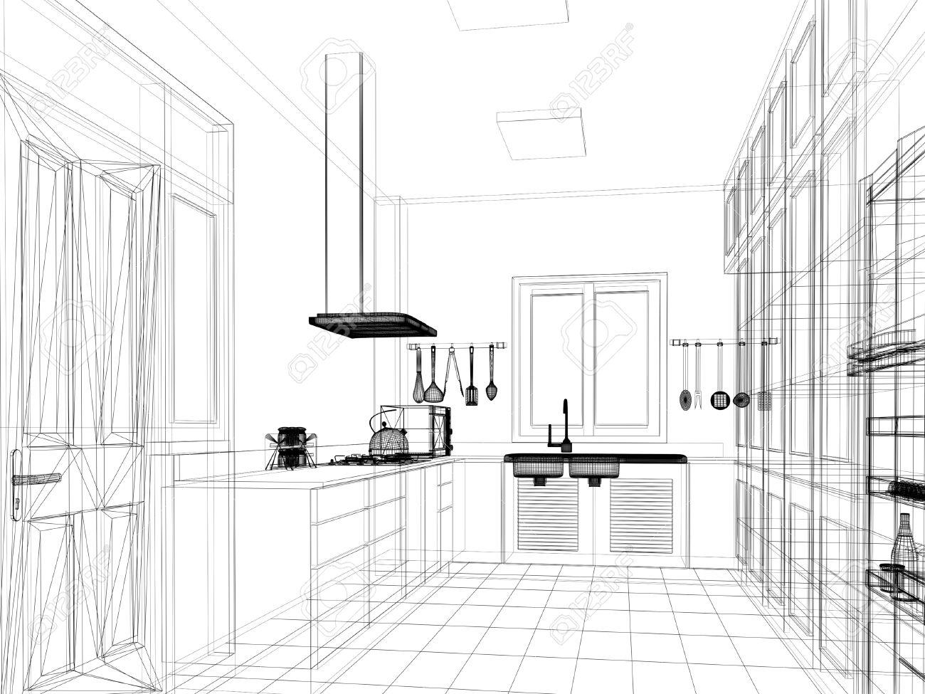 sketch design of interior kitchen Stock Photo - 24519274