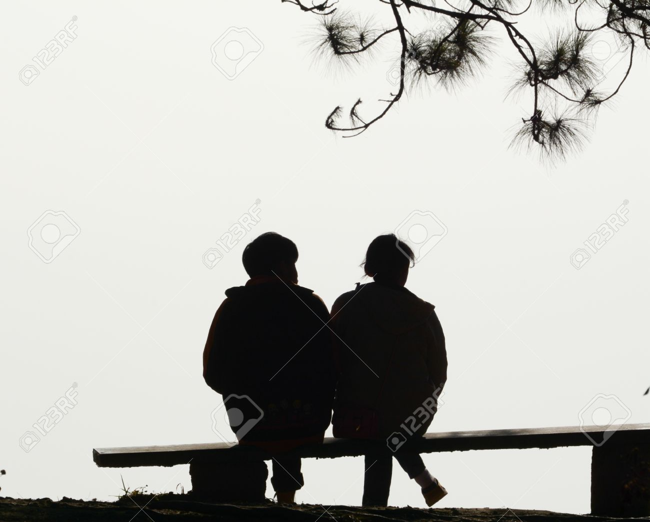 Silhouette Couple Love Sitting On Bench Stock Photo, Picture And ... for People On Bench Silhouette  lp0lpmzq