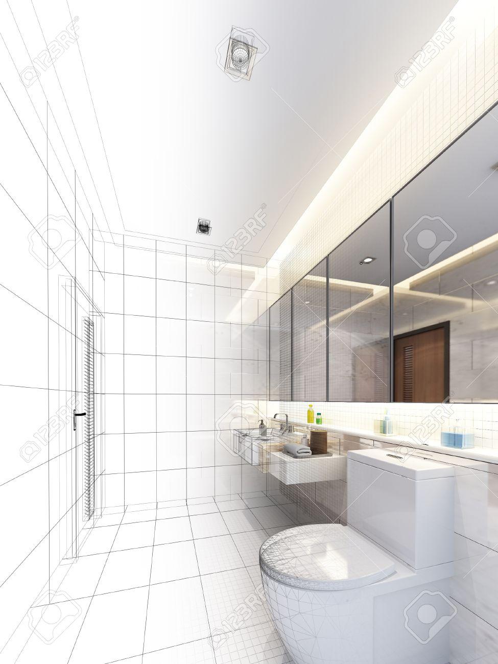 Sketch Design Of Interior Bathroom Stock Photo