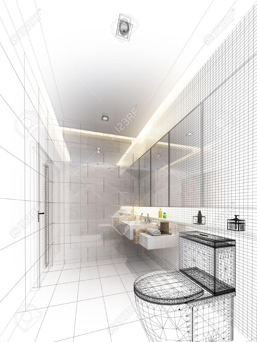 disegno schizzo di bagno interno Archivio Fotografico - 25014847