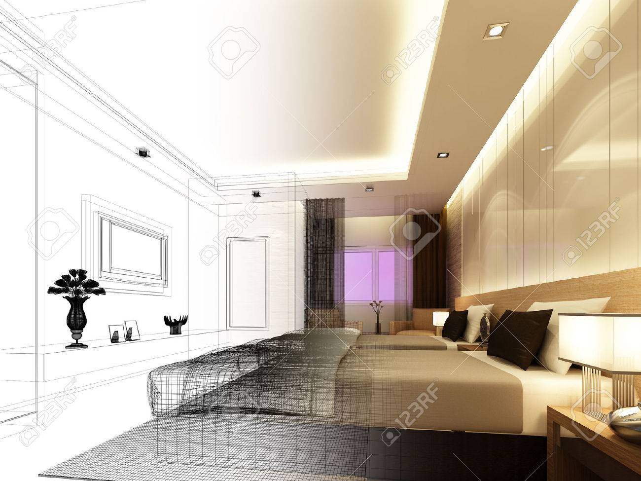 sketch design of interior bedroom Archivio Fotografico - 25243330
