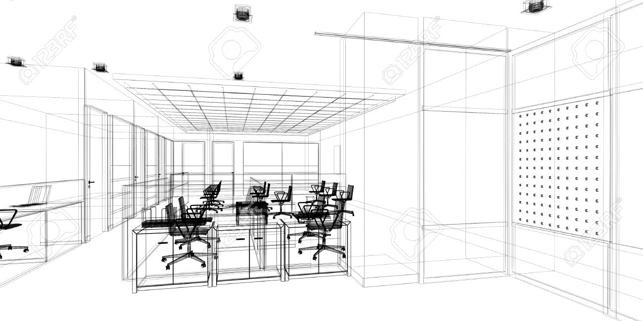 Sketch Design Of Interior Office, Wire Frame Stock Photo, Picture ...