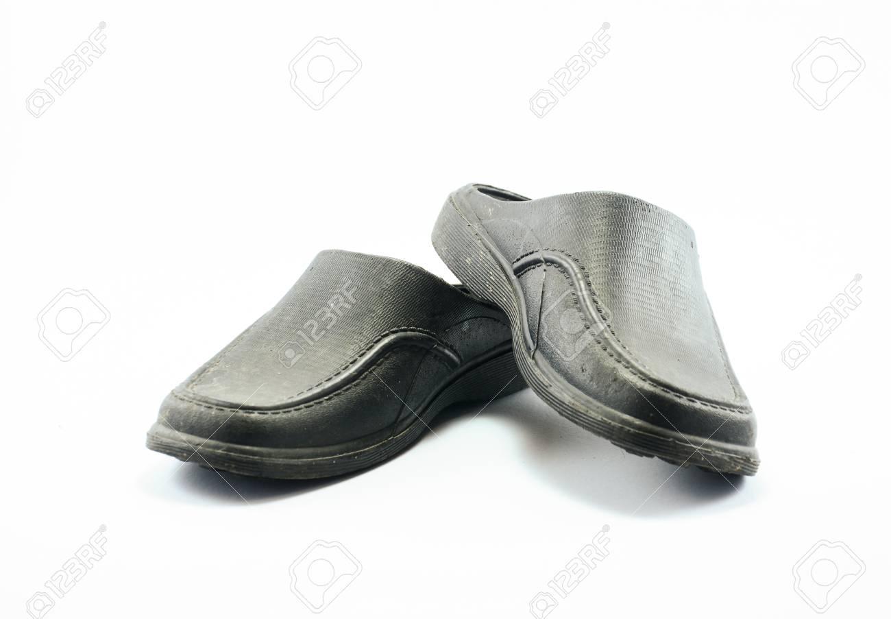 91d2e158e2164 black rubber sandal isolated on white background Stock Photo - 26756345