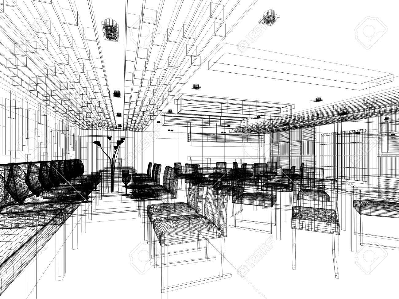 disegno schizzo degli interni del ristorante Archivio Fotografico - 28138536