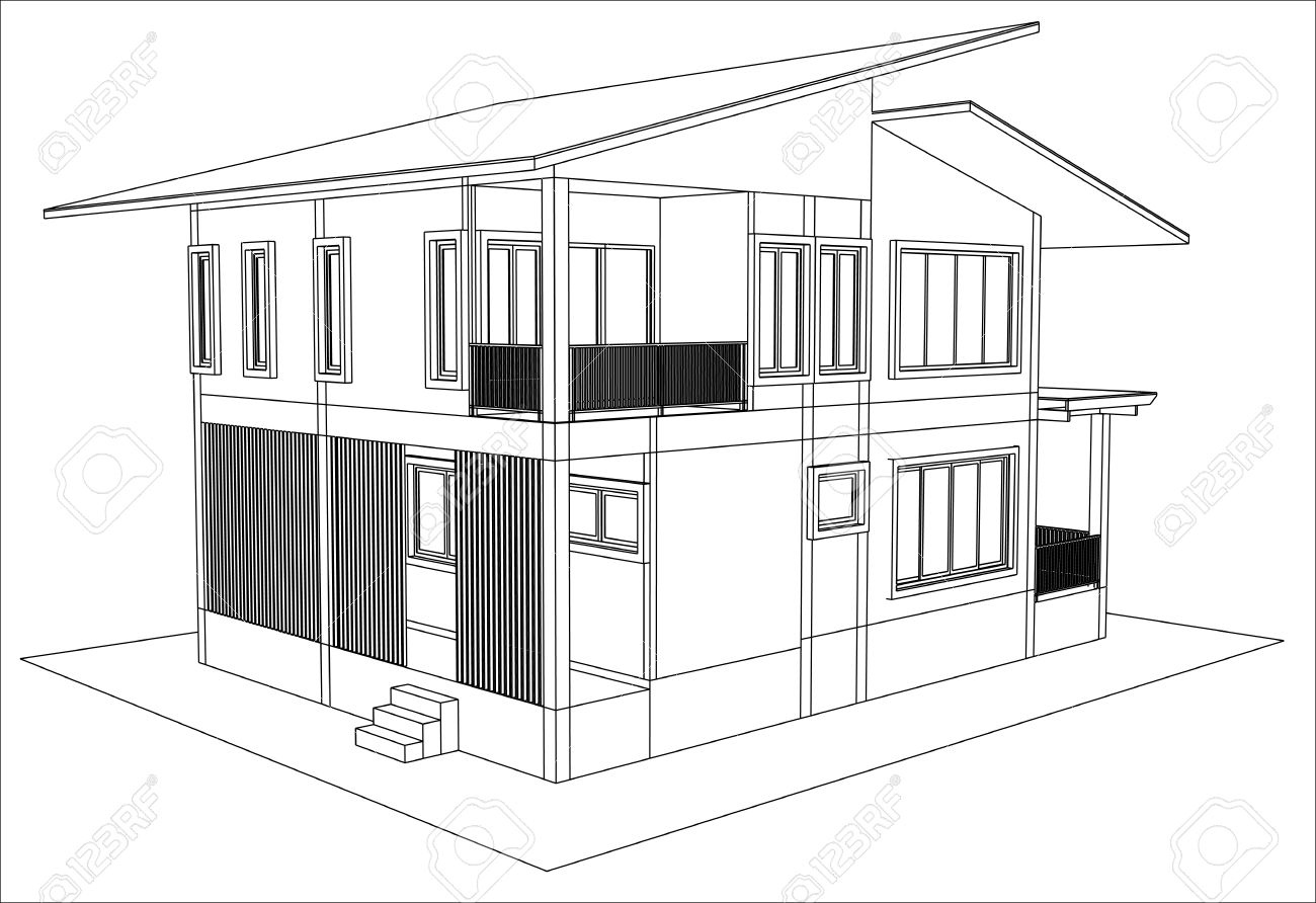 sketch design of house vector royalty free cliparts vectors and rh 123rf com design house sketchup sketch house design software