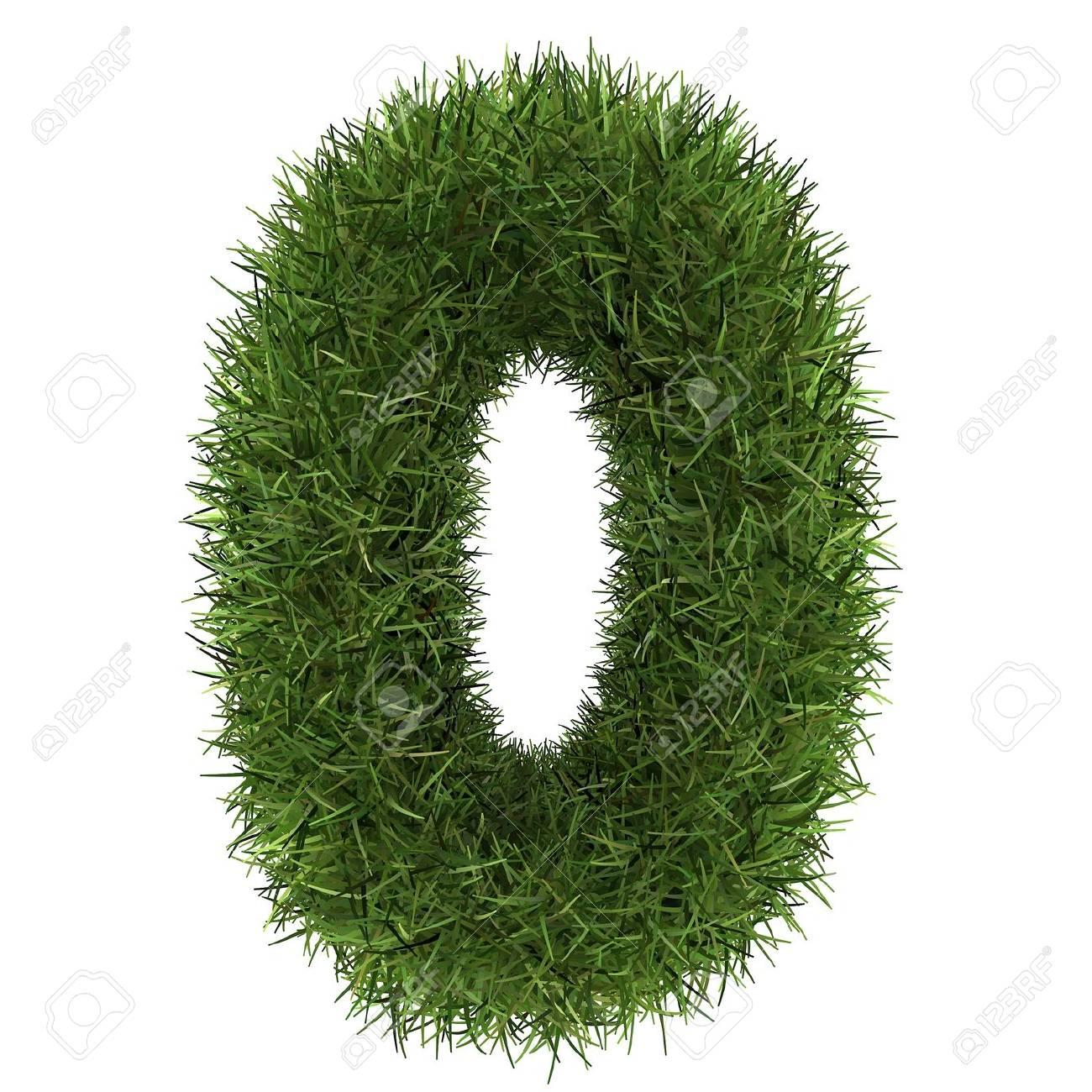 numero 0 di verde concetto di erba isolato su bianco Archivio Fotografico - 30499848