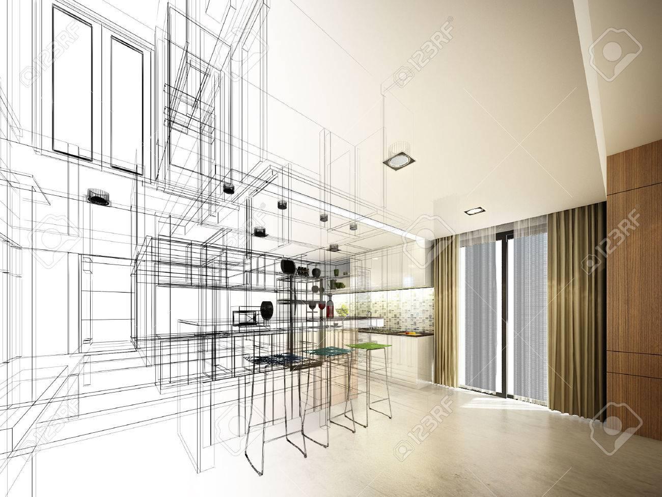 Abstract sketch design of interior kitchen - 33218542