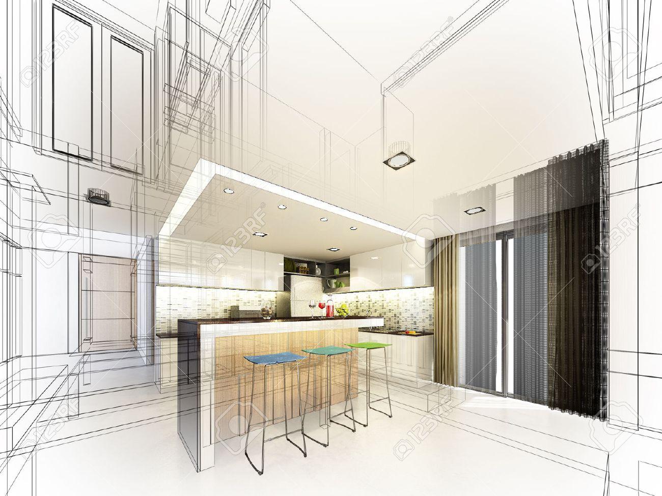 Abstract sketch design of interior kitchen - 33218544