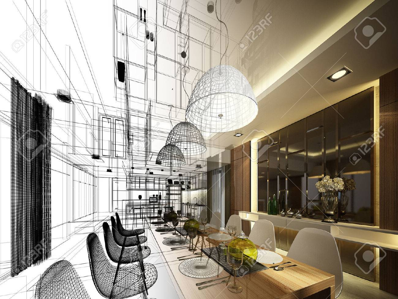 Abstract sketch design of interior dining - 33218546