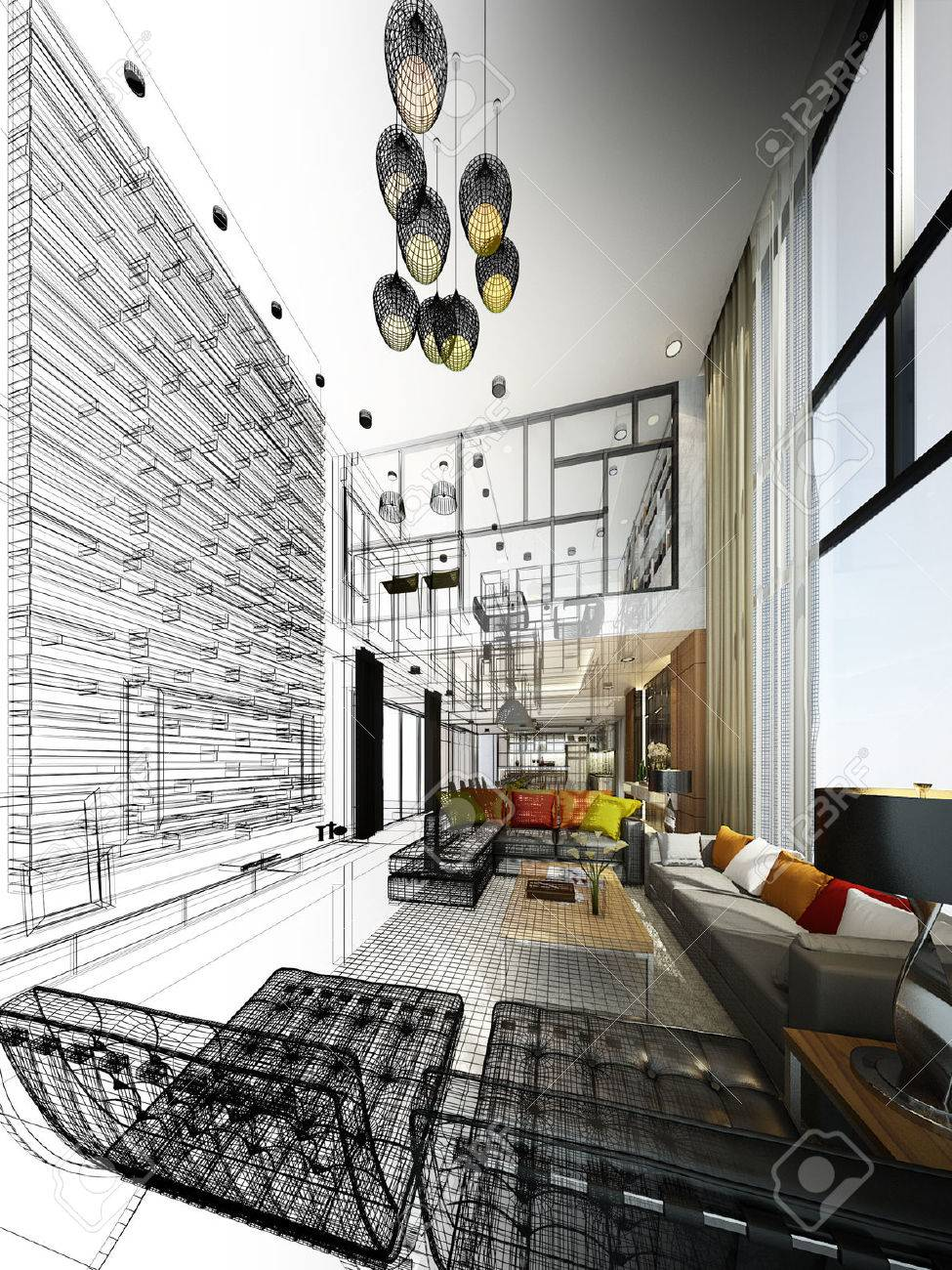 Abstract sketch design of interior living - 33218551