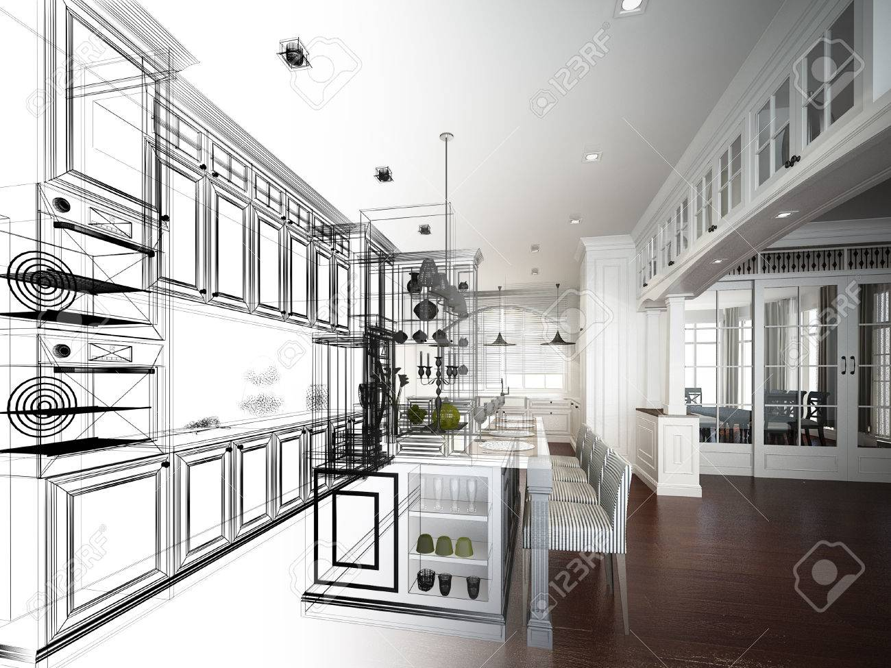 abstract sketch design of interior kitchen - 37388138