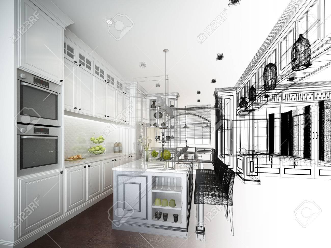disegno astratto disegno di cucina interna Archivio Fotografico - 37388140