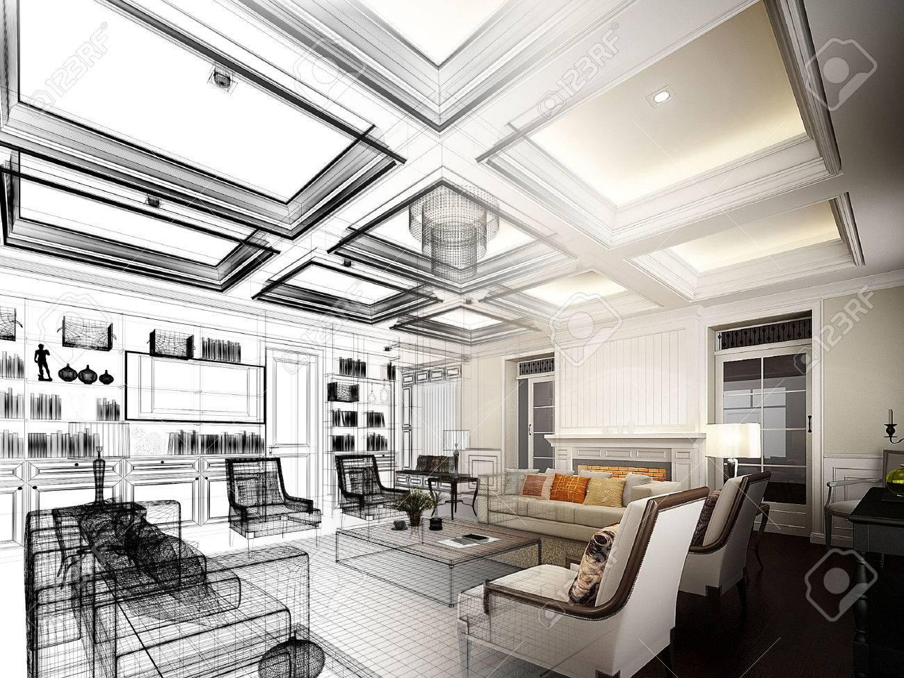sketch design of living ,3dwire frame render - 37388155