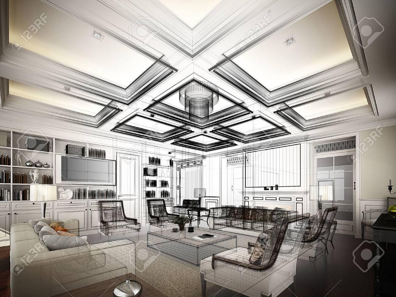 sketch design of living ,3dwire frame render - 37388205
