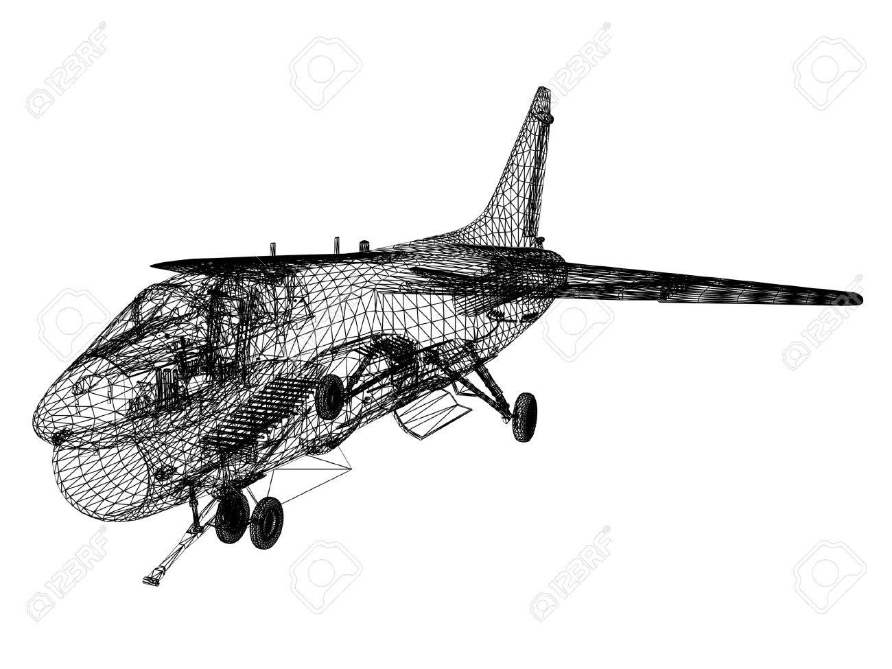 3d Wire Frame Sketch Of F-16 Hornet Stock Photo, Picture And Royalty ...