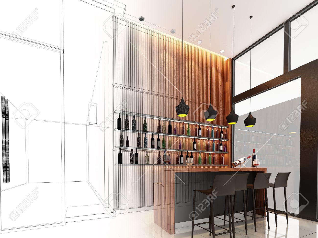 Diseño De Dibujo De Barra De Bar, Marco De Alambre 3d Rinde Fotos ...
