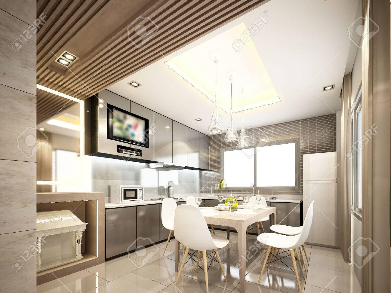 3d design of interior kitchen3d render - 40904592