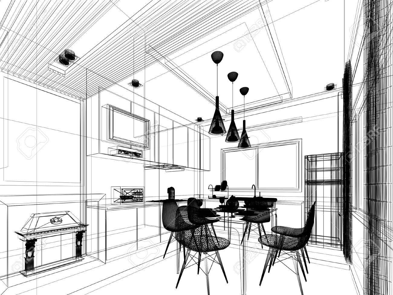 abstract sketch design of interior kitchen - 40904591