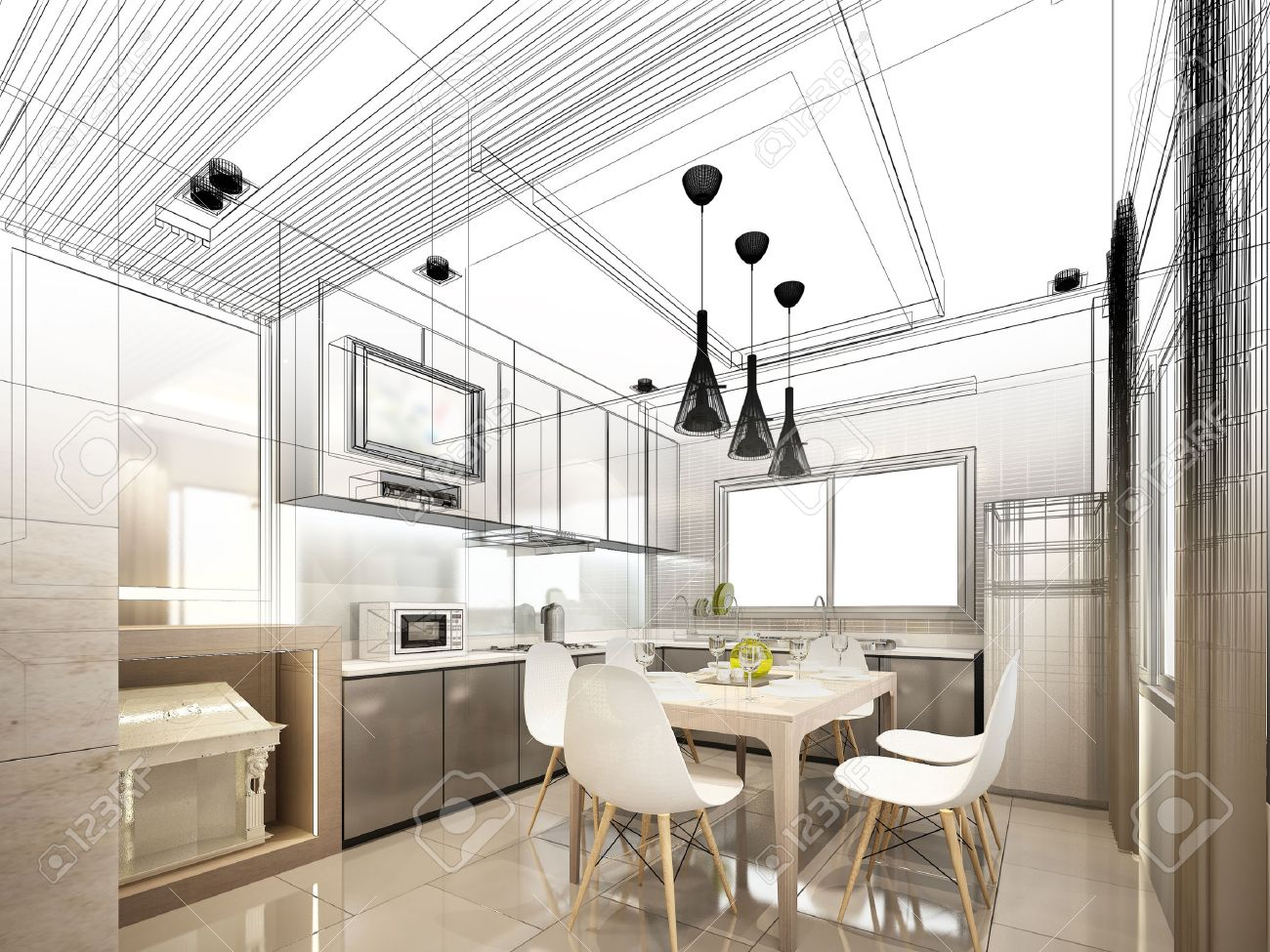 abstract sketch design of interior kitchen stock photo, picture