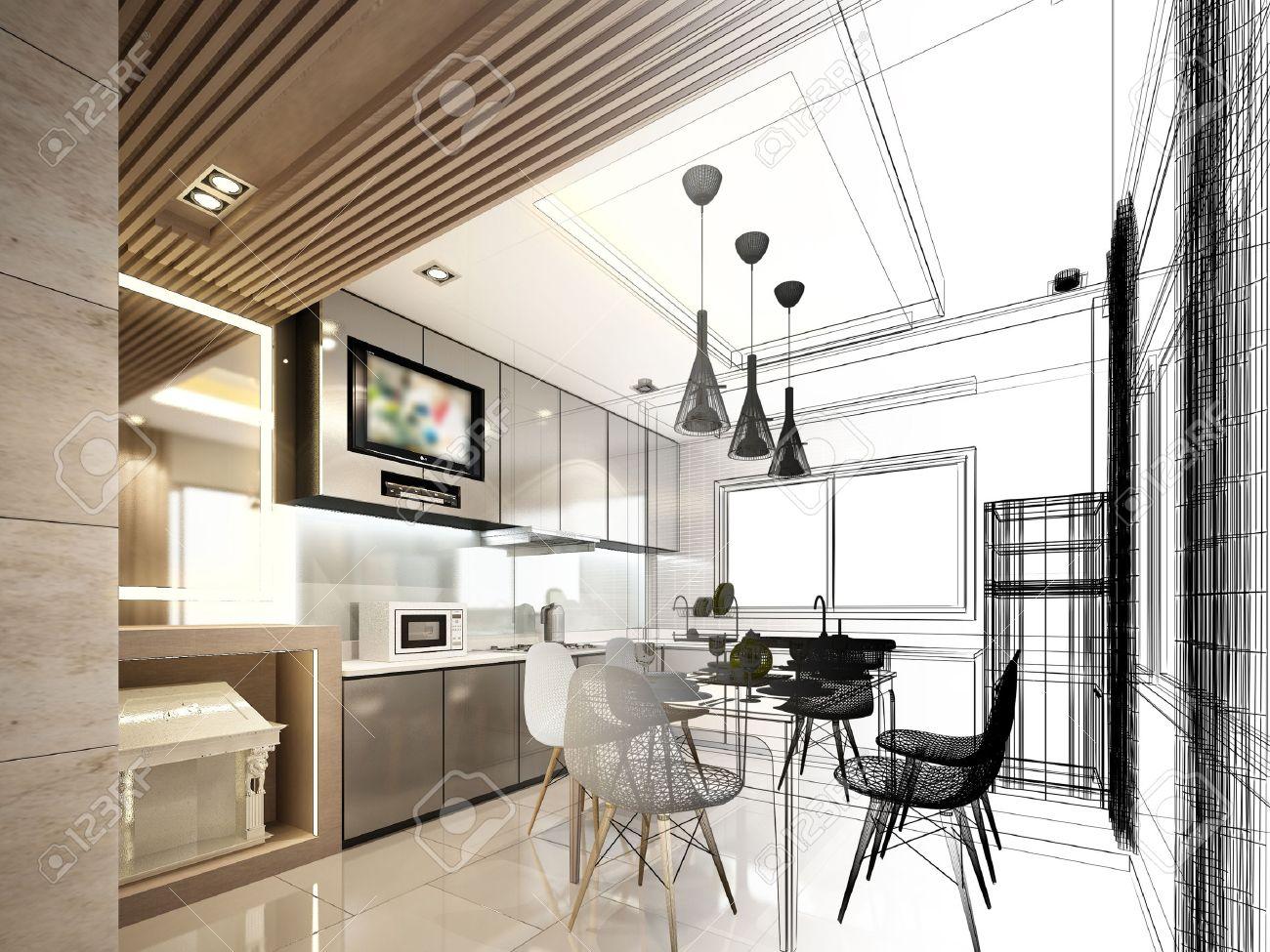 abstract sketch design of interior kitchen Archivio Fotografico - 40904819