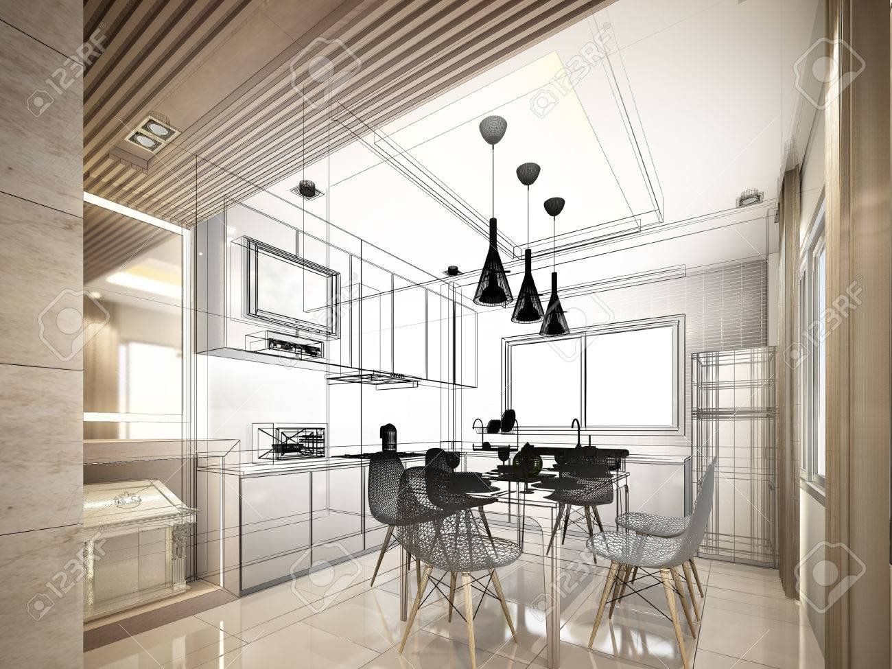 Abstract Sketch Design Of Interior Kitchen Stock Photo Picture And