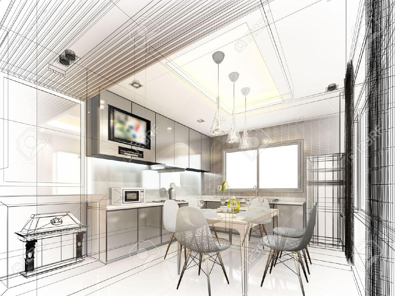 abstract sketch design of interior kitchen - 40904822