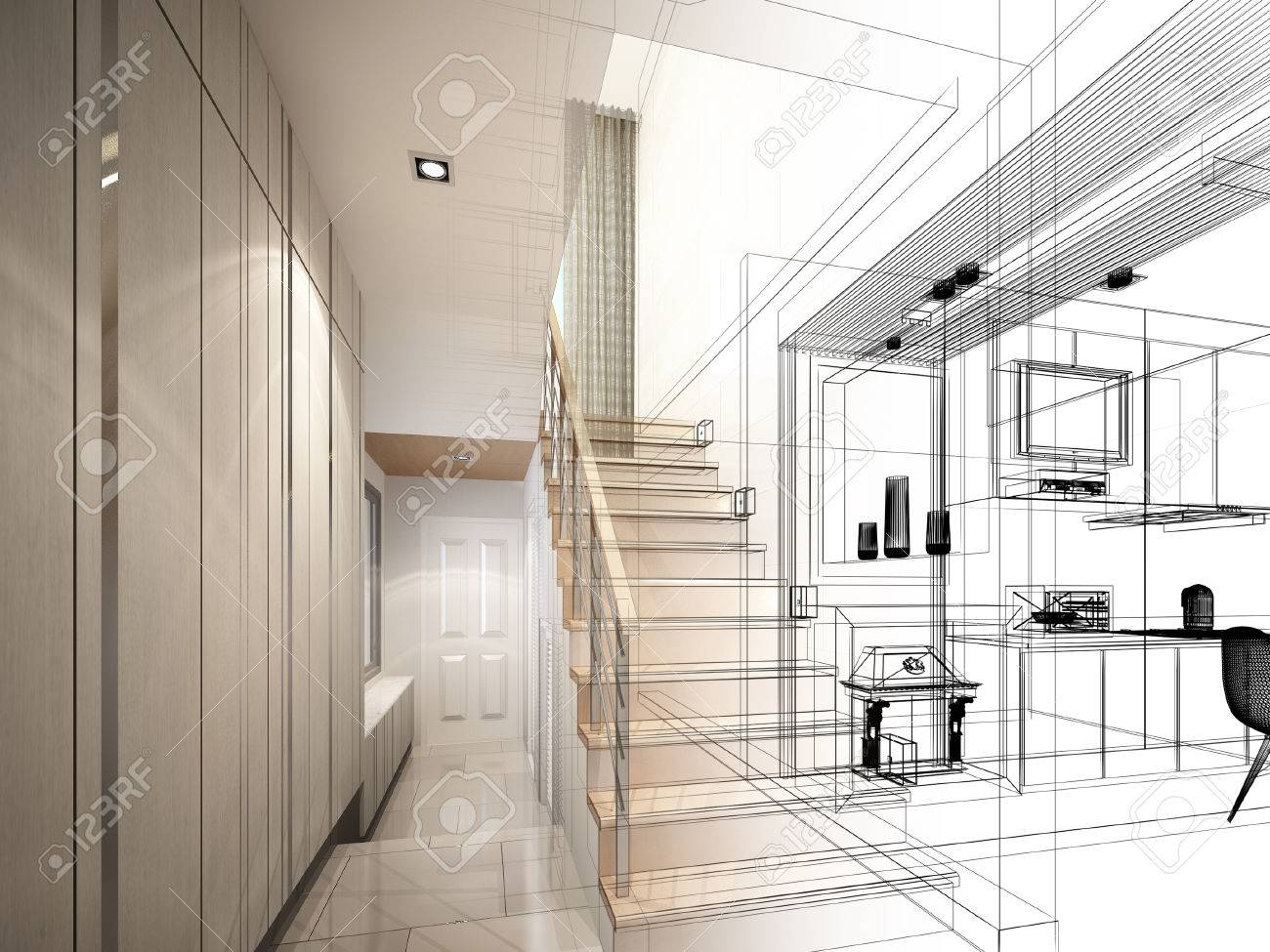 sketch design of stair hall 3dwire frame render - 40904831