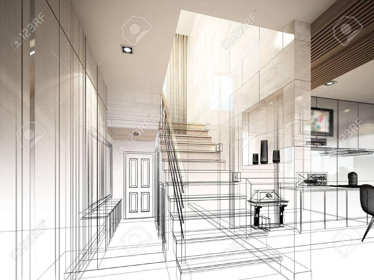 sketch design of stair hall 3dwire frame render - 40904835