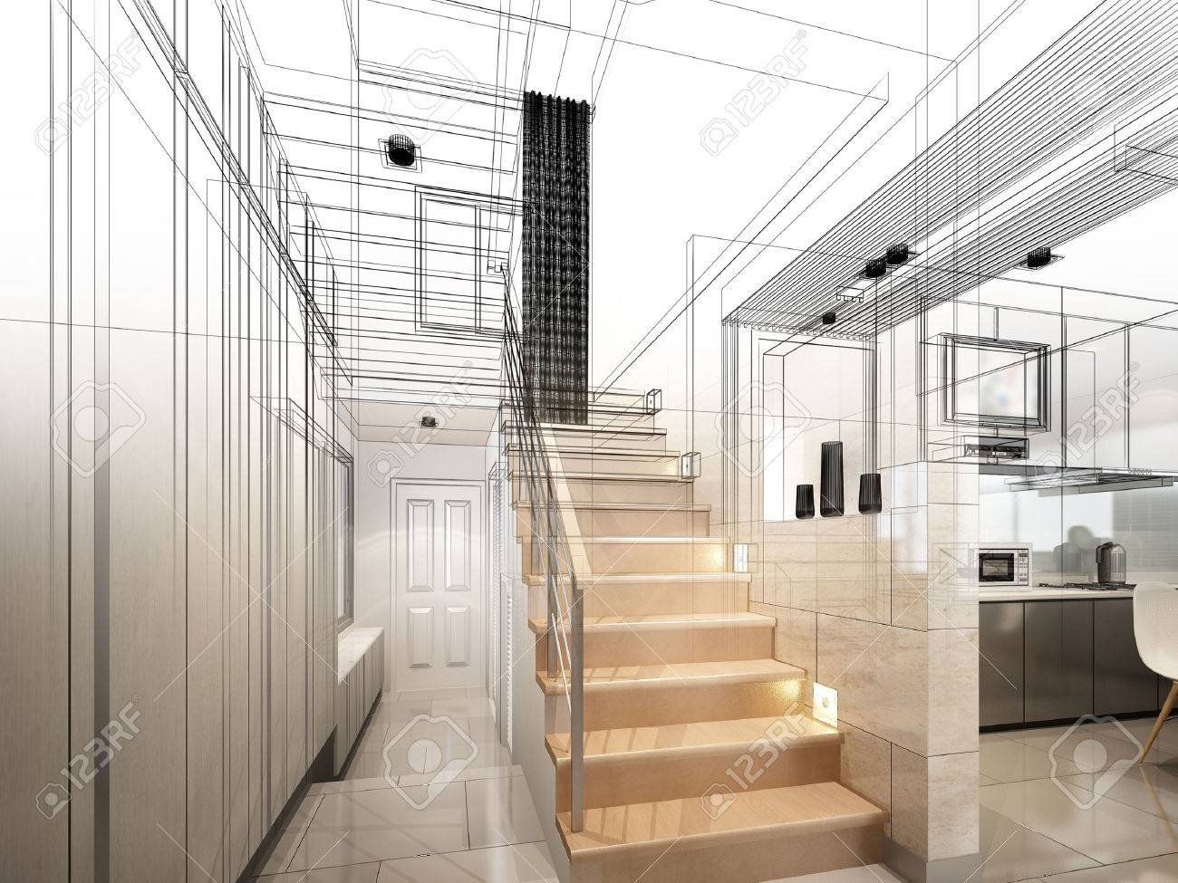 sketch design of stair hall 3dwire frame render - 40904844