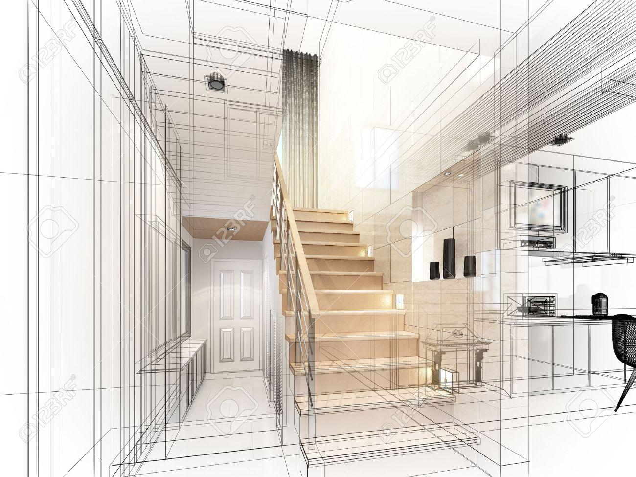 sketch design of stair hall 3dwire frame render - 40904846