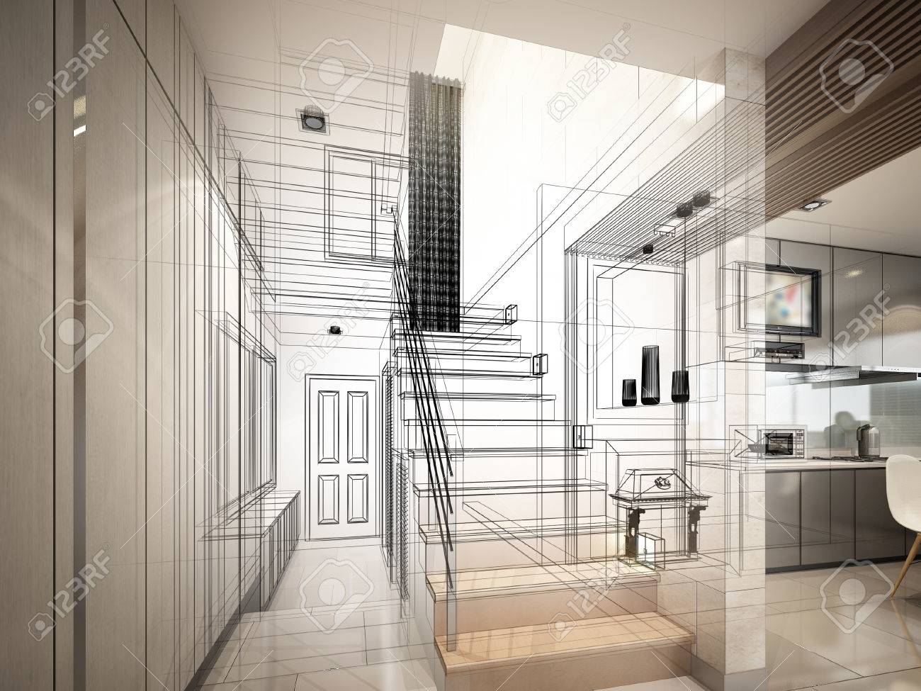 sketch design of stair hall 3dwire frame render - 40904843