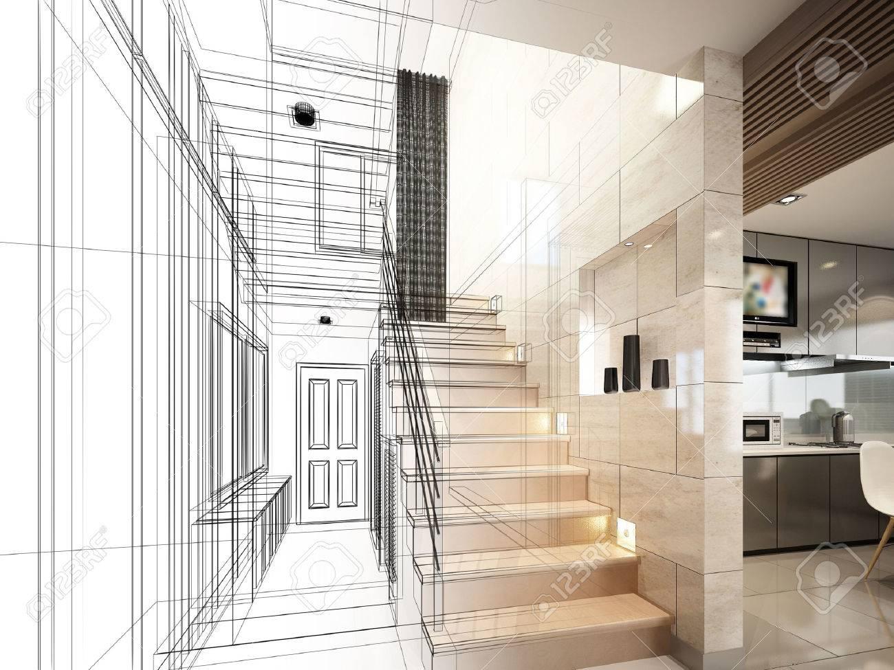 sketch design of stair hall 3dwire frame render - 40904841