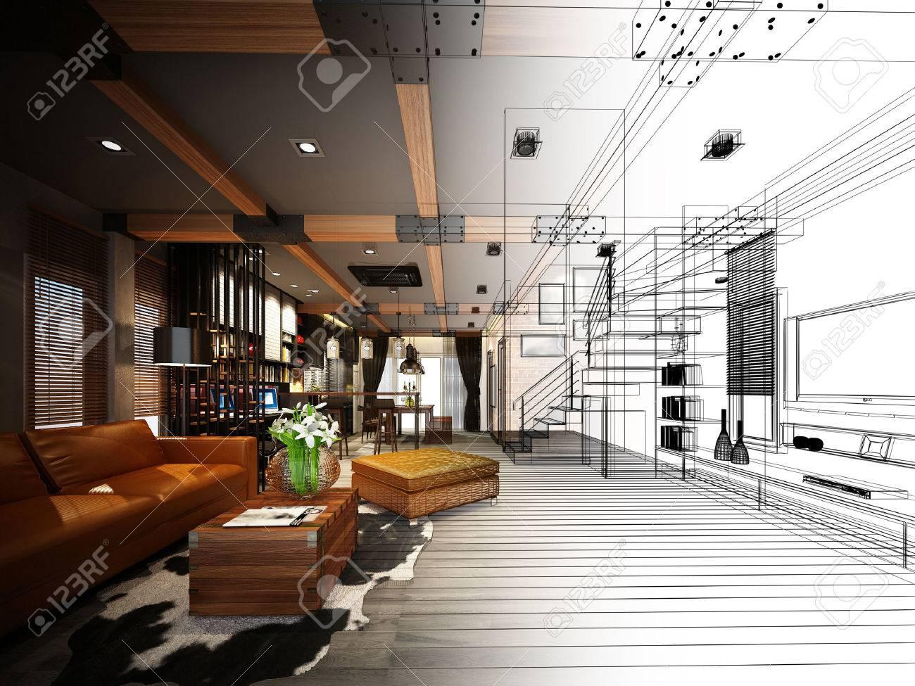 sketch design of living 3dwire frame render - 41332615