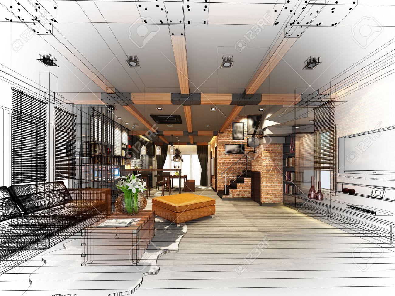 sketch design of living 3dwire frame render - 41329992