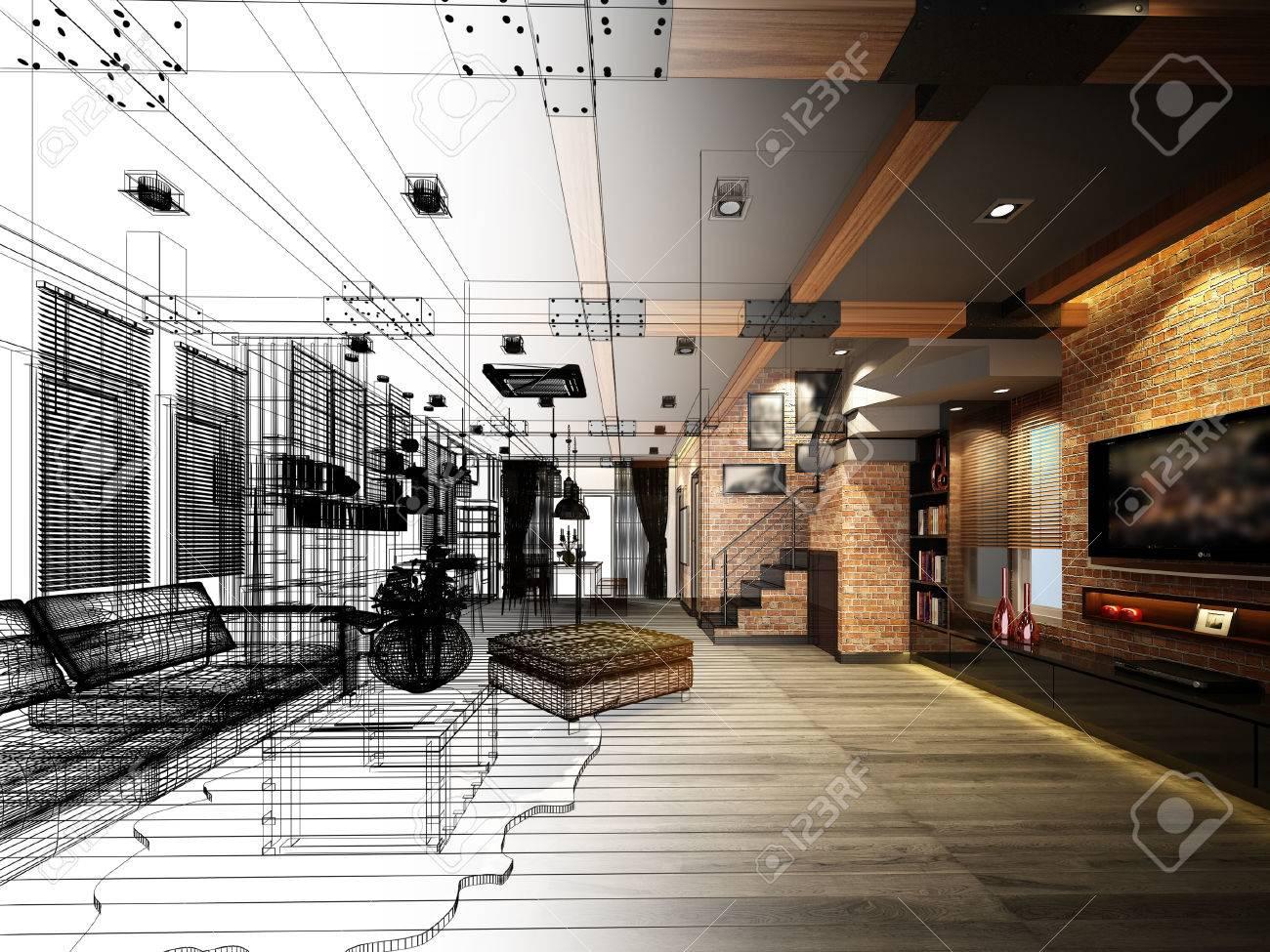 sketch design of living 3dwire frame render - 41329996