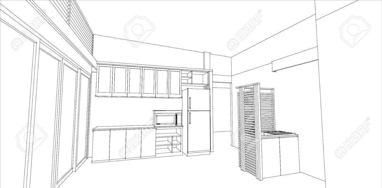 Sketch Design Of Kitchen Interior Vector Royalty Free Cliparts