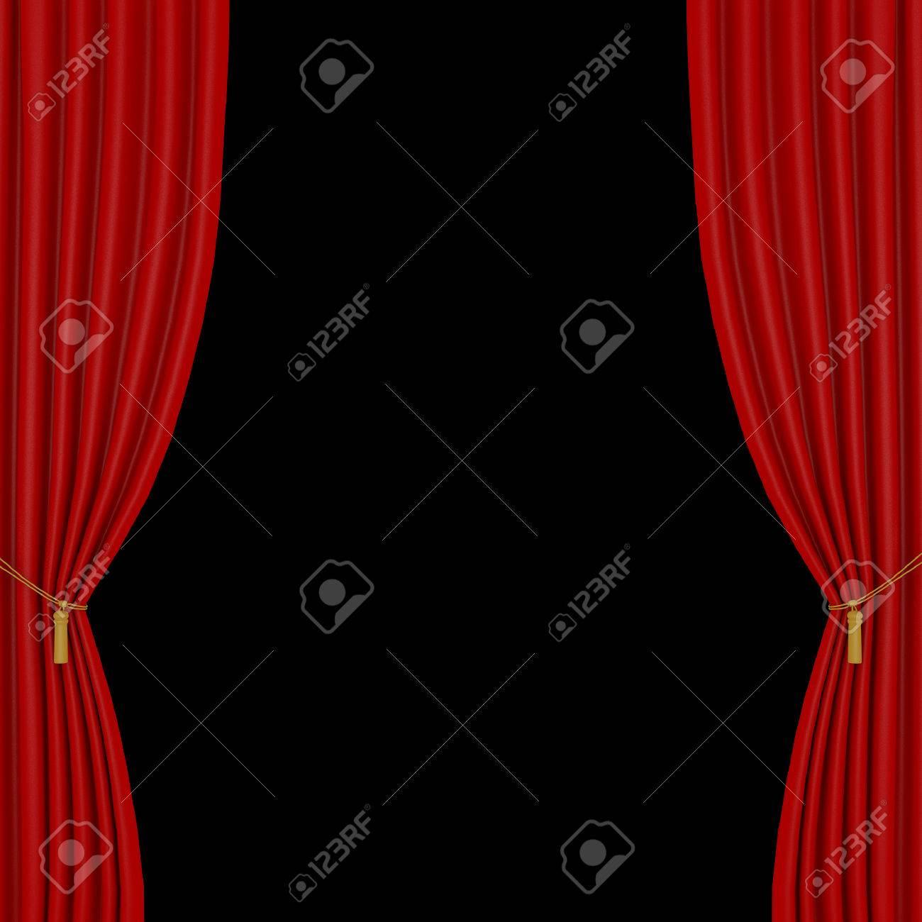 foto de archivo cortinas rojas sobre un fondo negro