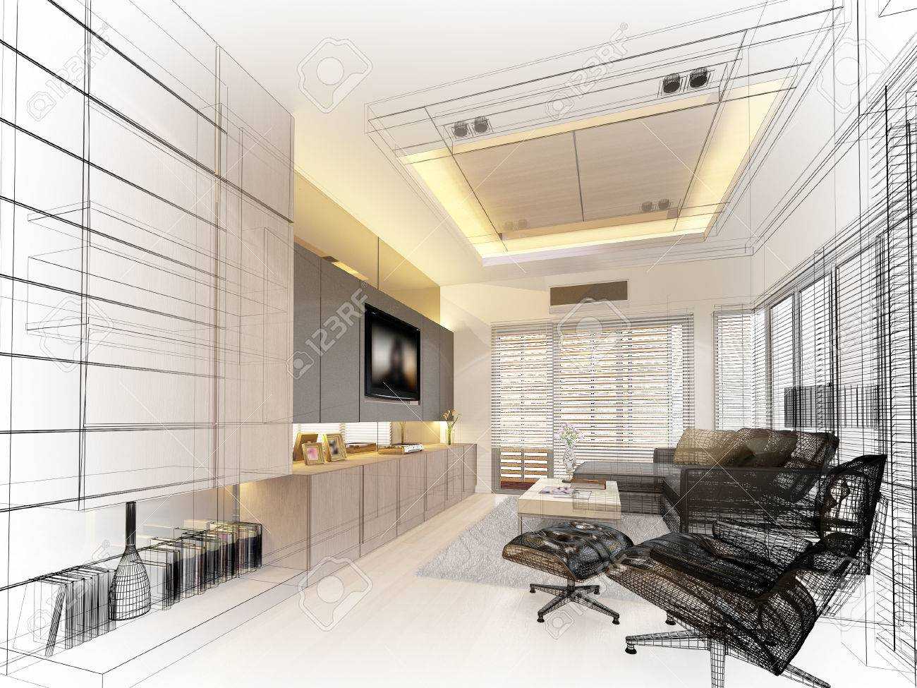 sketch design of living ,3dwire frame render - 42310244