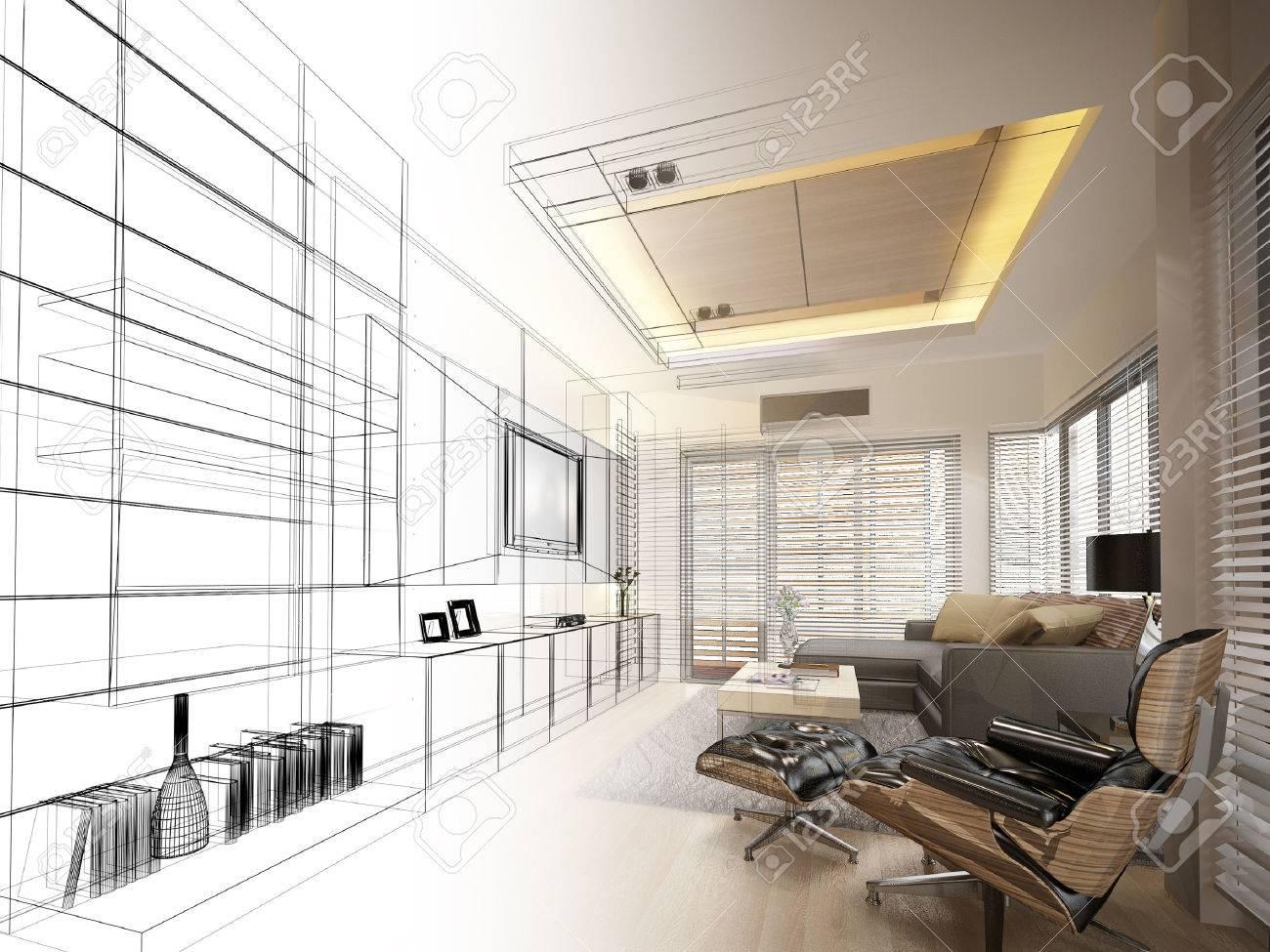 sketch design of living ,3dwire frame render - 42310245