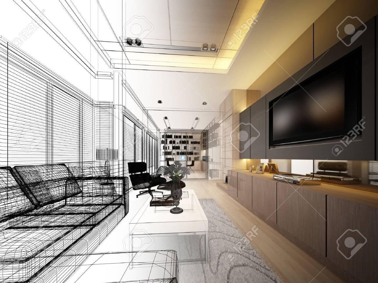 sketch design of living ,3dwire frame render - 42310251