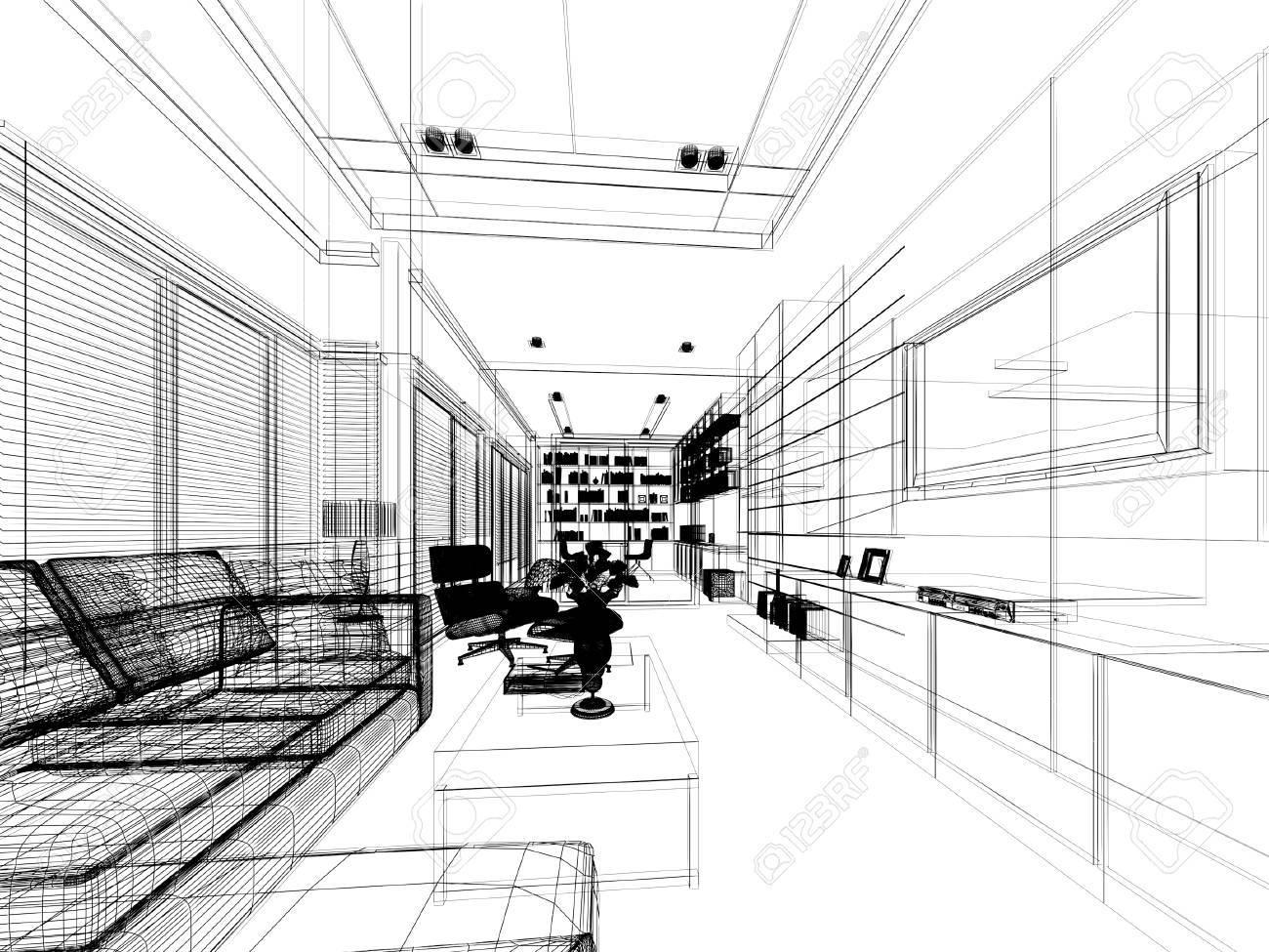 disegno schizzo di vita, telaio 3dwire render Archivio Fotografico - 42310541