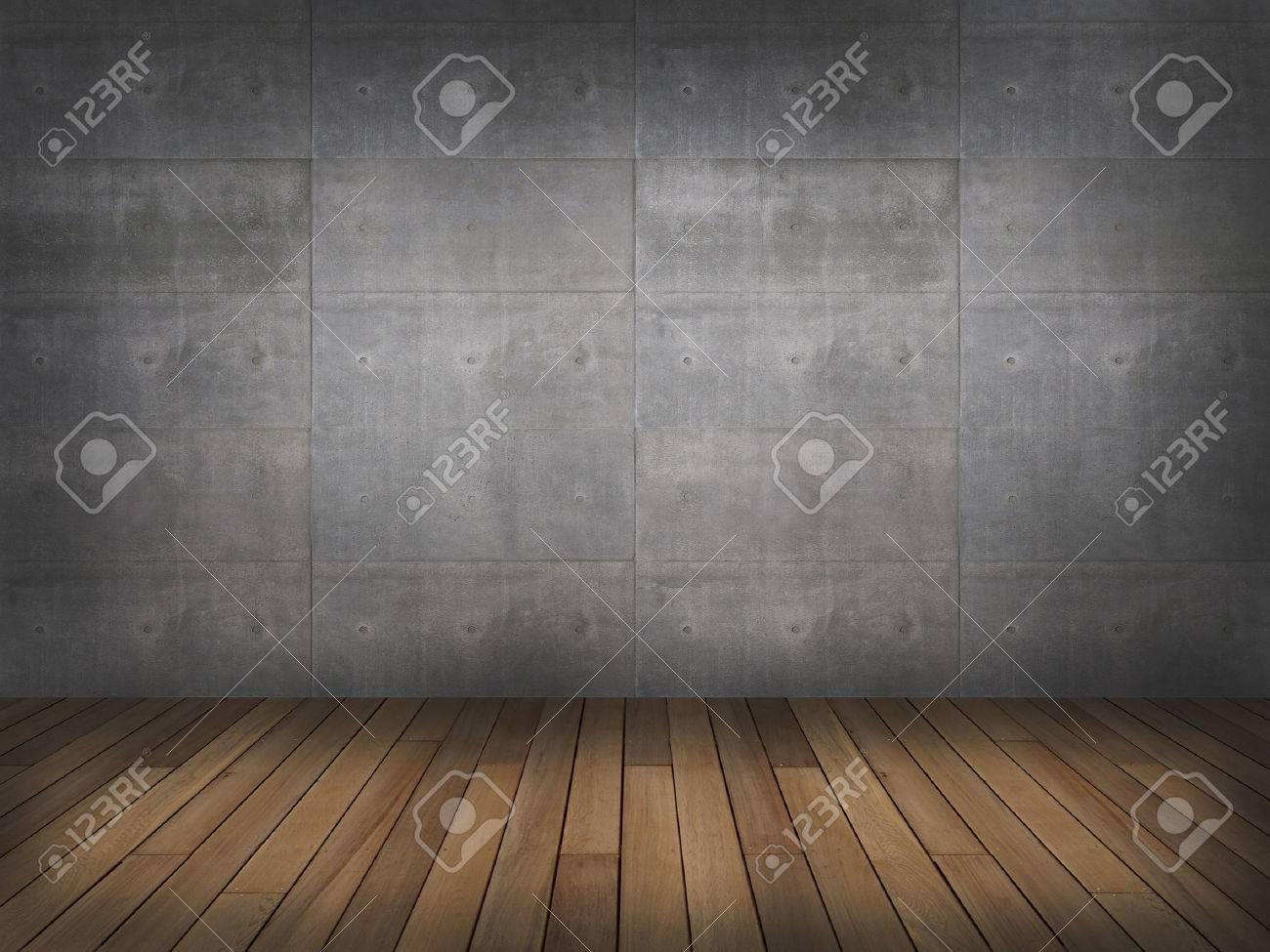muro di cemento con pavimento in legno, 3d Archivio Fotografico - 42558188