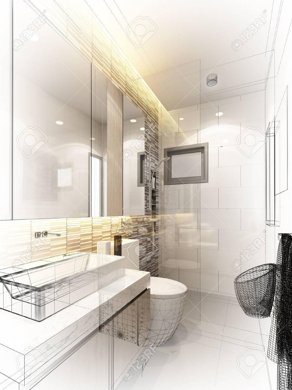 abstract sketch design of interior bathroom - 43118765