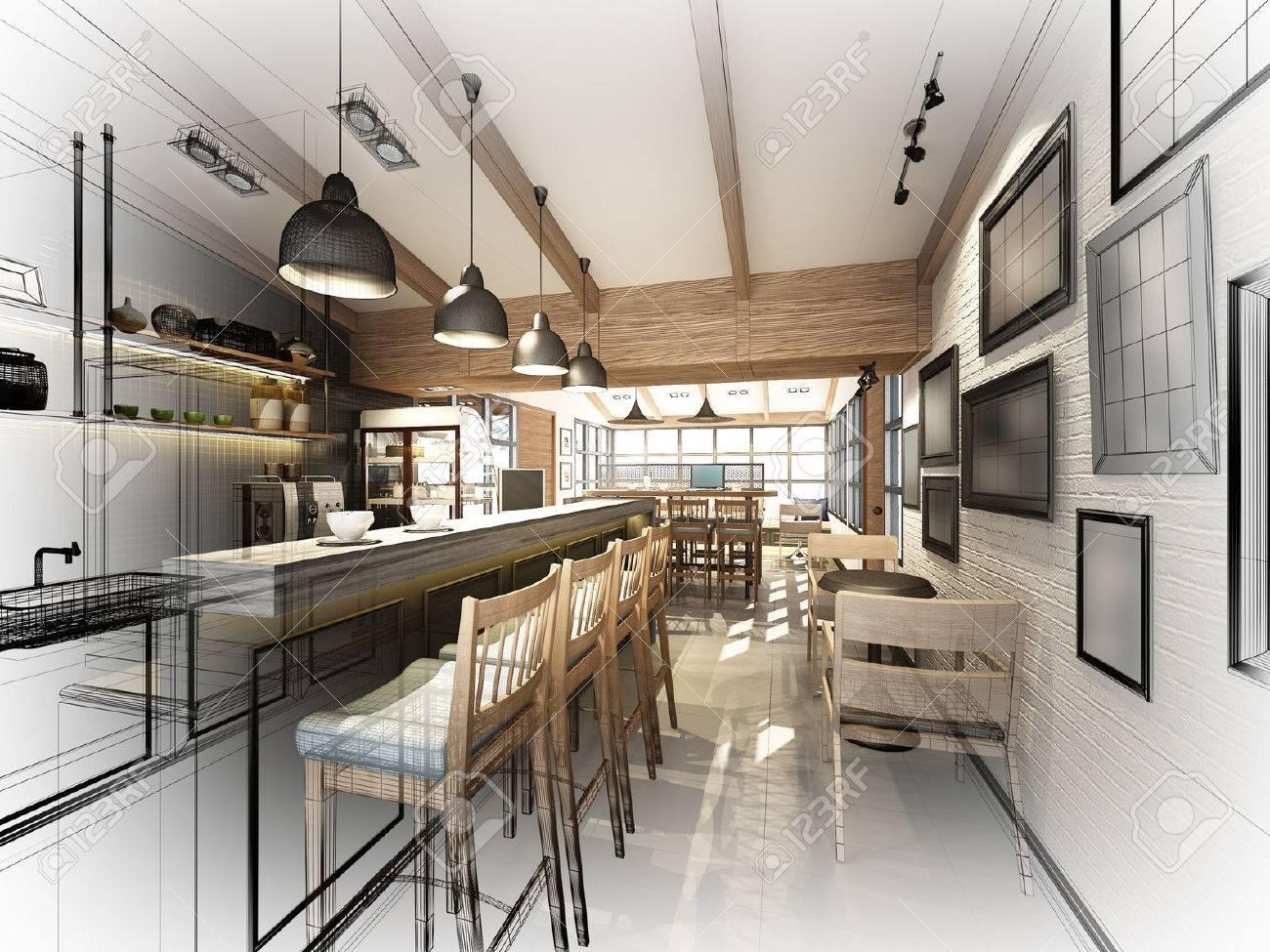 sketch design of coffee shop ,3dwire frame render - 43833233
